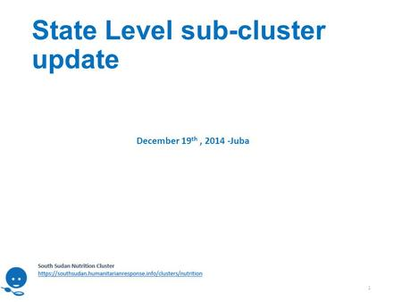 State Level sub-cluster update 1 December 19 th, 2014 -Juba.