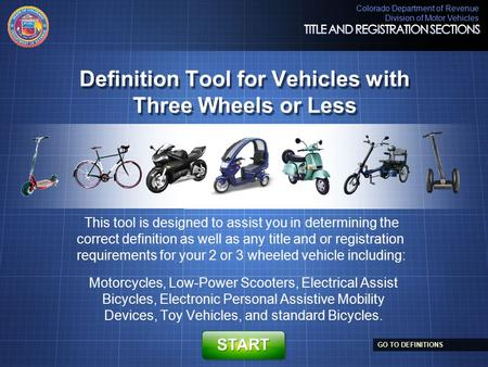 Definition Tool for Vehicles with Three Wheels or Less