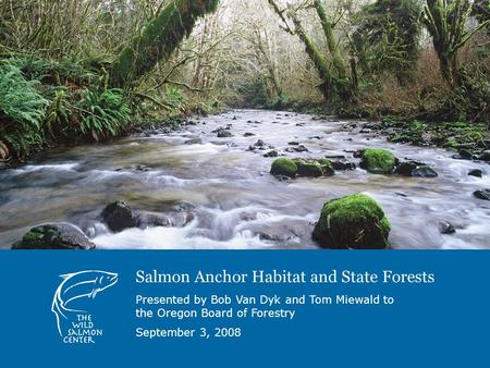 Salmon Anchor Habitat and State Forests Presented by Bob Van Dyk and Tom Miewald to the Oregon Board of Forestry September 3, 2008.
