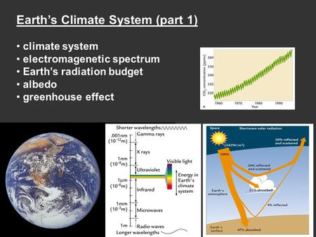 Earth's Climate System (part 1) climate system electromagenetic spectrum Earth's radiation budget albedo greenhouse effect.