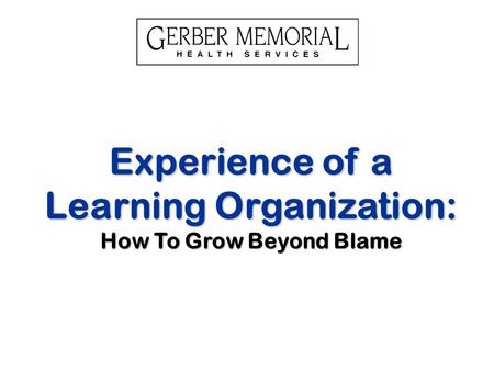 Experience of a Learning Organization: How To Grow Beyond Blame.
