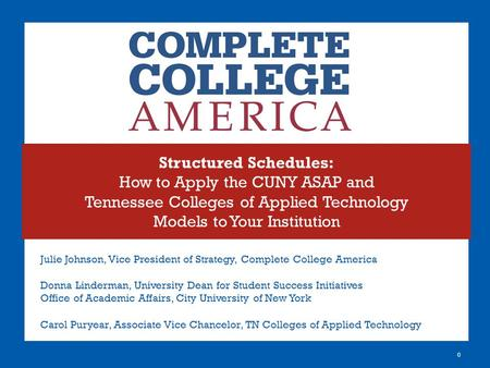 Structured Schedules: How to Apply the CUNY ASAP and Tennessee Colleges of Applied Technology Models to Your Institution 0 Julie Johnson, Vice President.