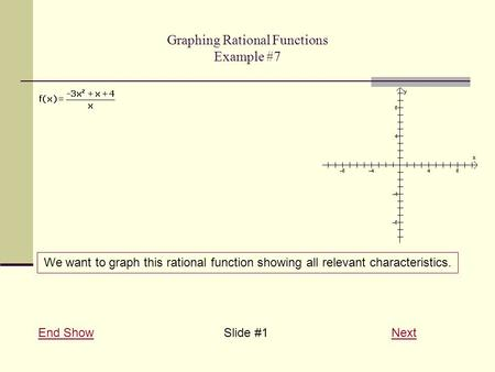 Graphing Rational Functions Example #7 End ShowEnd Show Slide #1 NextNext We want to graph this rational function showing all relevant characteristics.