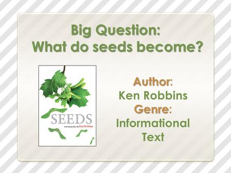 Big Question: What do seeds become? Author Author: Ken Robbins Genre Genre: Informational Text.
