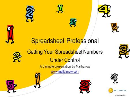 © Mailbarrow Spreadsheet Professional Getting Your Spreadsheet Numbers Under Control A 5 minute presentation by Mailbarrow www.mailbarrow.com.