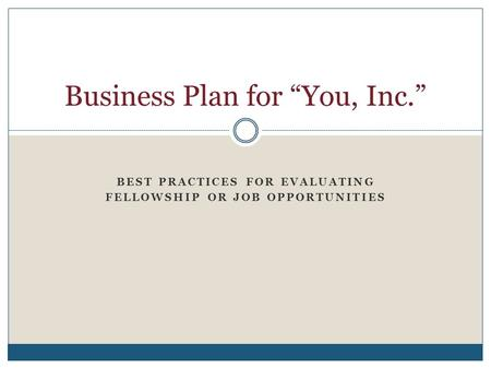 "Business Plan for ""You, Inc."""