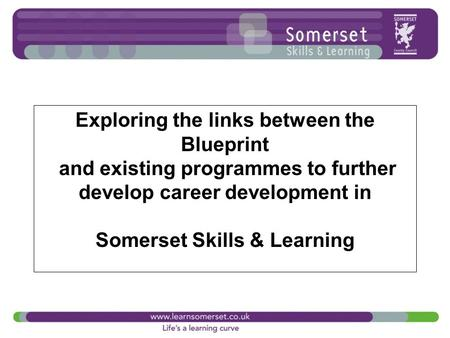 Exploring the links between the Blueprint and existing programmes to further develop career development in Somerset Skills & Learning.