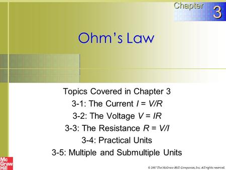 3 Ohm's Law Chapter Topics Covered in Chapter 3
