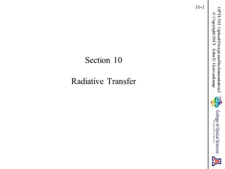 Section 10 Radiative Transfer