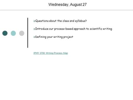 Wednesday, August 27 Questions about the class and syllabus? Introduce our process-based approach to scientific writing Defining your writing project IPHY.