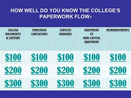 HOW WELL DO YOU KNOW THE COLLEGE'S PAPERWORK FLOW ? COLLEGE DOCUMENTS & SUPPORT THRESHOLD LIMITATIONS SERVICES REQUIRED EQUIPMENT VS NON-CAPITAL EQUIPMENT.