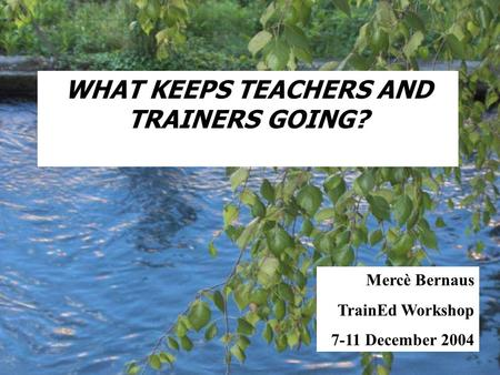 WHAT KEEPS TEACHERS AND TRAINERS GOING? Mercè Bernaus TrainEd Workshop 7-11 December 2004.