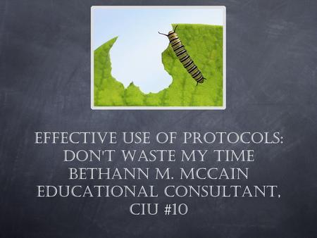 Effective use of protocols: Don't waste my time Bethann M. McCain Educational Consultant, CIU #10.