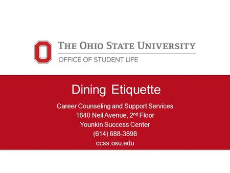 Dining Etiquette Career Counseling and Support Services