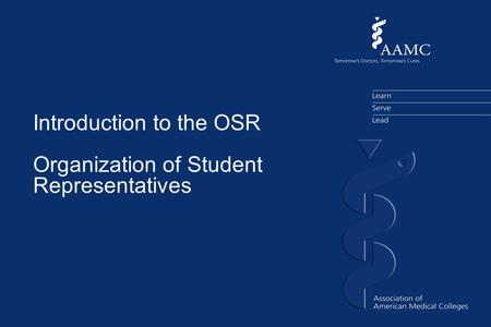 Introduction to the OSR Organization of Student Representatives.