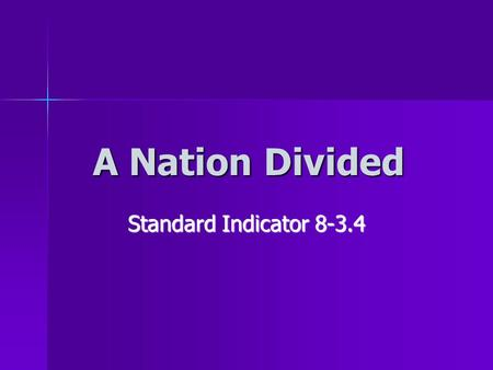 A Nation Divided Standard Indicator 8-3.4. New National Leaders Federal government was established in 1789 Federal government was established in 1789.