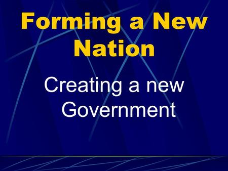 Forming a New Nation Creating a new Government The beginnings of US government Magna Carta: this document limited the power of the monarchy. It established.