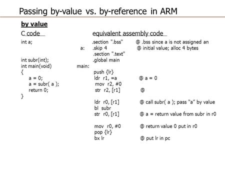 Passing by-value vs. by-reference in ARM by value C code equivalent assembly code int a;.section since a is not assigned an a:.skip initial.