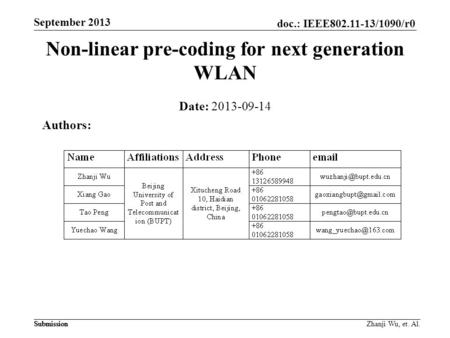 Non-linear pre-coding for next generation WLAN