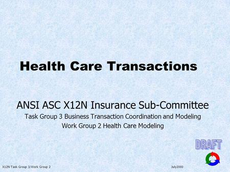 X12N Task Group 3/Work Group 2 July2000 Health Care Transactions ANSI ASC X12N Insurance Sub-Committee Task Group 3 Business Transaction Coordination and.