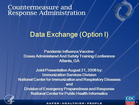 TM 1 Data Exchange (Option I) Pandemic Influenza Vaccine: Doses Administered And Safety Training Conference Atlanta, GA Joint Presentation August 21, 2008.