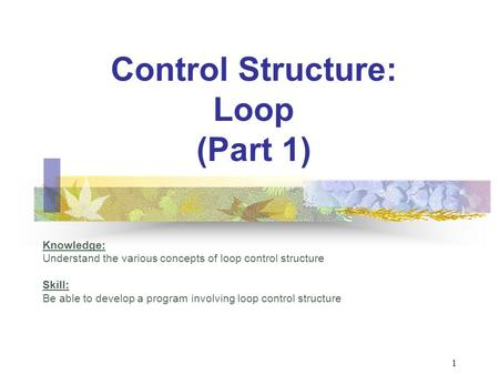 Control Structure: Loop (Part 1) Knowledge: Understand the various concepts of loop control structure Skill: Be able to develop a program involving loop.