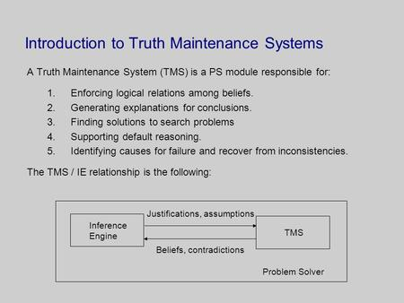 Introduction to Truth Maintenance Systems A Truth Maintenance System (TMS) is a PS module responsible for: 1.Enforcing logical relations among beliefs.