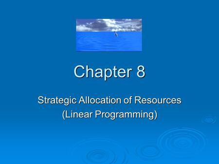 Strategic Allocation of Resources (Linear Programming)