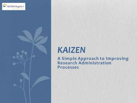 A Simple Approach to Improving Research Administration Processes Spring 2013 KAIZEN.
