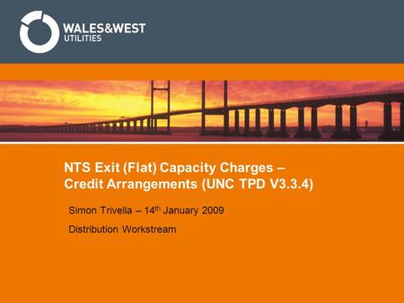 NTS Exit (Flat) Capacity Charges – Credit Arrangements (UNC TPD V3.3.4) Simon Trivella – 14 th January 2009 Distribution Workstream.