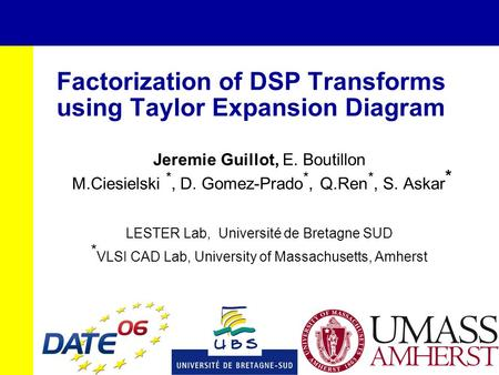 Factorization of DSP Transforms using Taylor Expansion Diagram