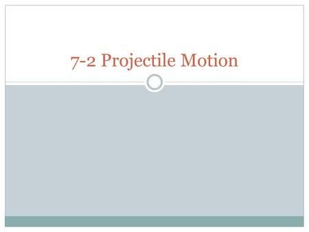 7-2 Projectile Motion. Independence of Motion in 2-D Projectile is an object that has been given an intial thrust (ignore air resistance)  Football,