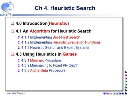 Ch 4. Heuristic Search 4.0 Introduction(Heuristic)