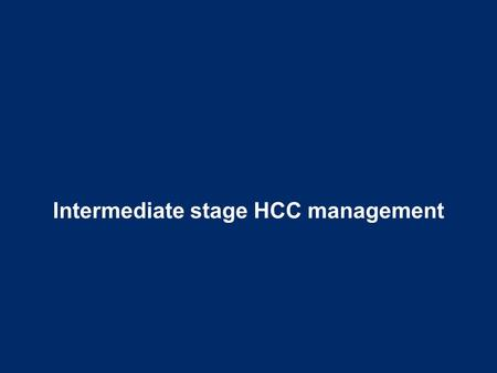 Intermediate stage HCC management