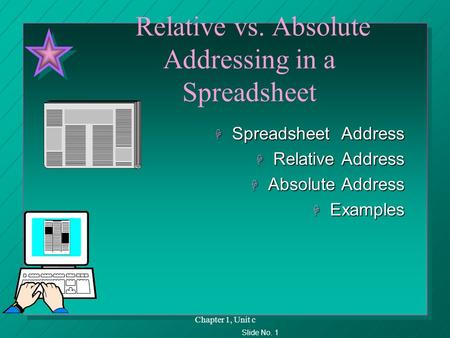Slide No. 1 Chapter 1, Unit c Relative vs. Absolute Addressing in a Spreadsheet H Spreadsheet Address H Relative Address H Absolute Address H Examples.