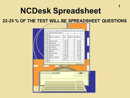 1 NCDesk Spreadsheet 22-25 % OF THE TEST WILL BE SPREADSHEET QUESTIONS.