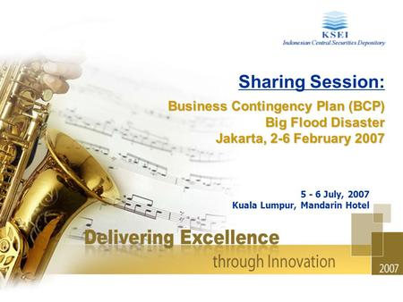 Sharing Session: Business Contingency Plan (BCP) Big Flood Disaster