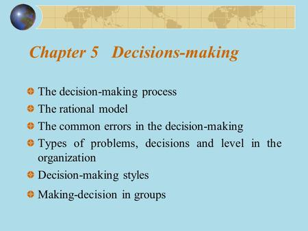 Chapter 5 Decisions-making