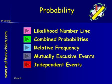 S4 General 12-Apr-15 Likelihood Number Line Combined Probabilities Relative Frequency Probability www.mathsrevision.com Mutually Excusive Events Independent.