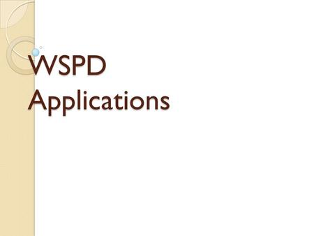 WSPD Applications.