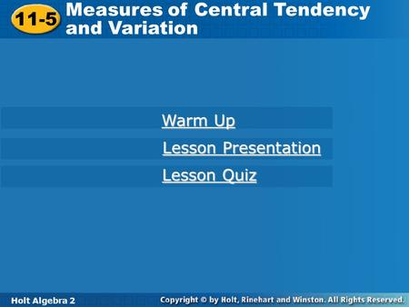Measures of Central Tendency and Variation 11-5