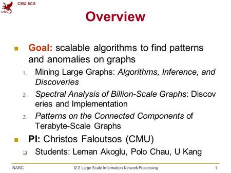 CMU SCS I2.2 Large Scale Information <strong>Network</strong> Processing INARC 1 Overview Goal: scalable algorithms to find patterns and anomalies on graphs 1. Mining Large.