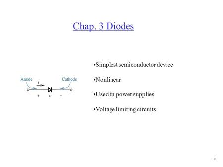 3.1 Ideal Diodes Forward bias (on) Reverse bias (off)