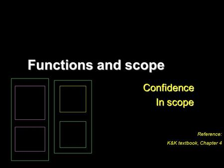 Functions and scope Confidence In scope Reference: K&K textbook, Chapter 4.