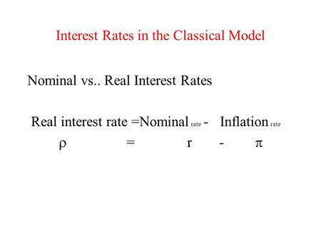 Interest Rates in the Classical Model Nominal vs.. Real Interest Rates Real interest rate =Nominal rate - Inflation rate  = r- 
