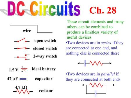 DC Circuits Ch. 28 These circuit elements and many others can be combined to produce a limitless variety of useful devices wire open switch closed switch.