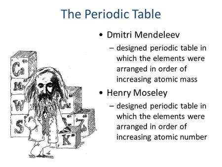 The Periodic Table Dmitri Mendeleev –designed periodic table in which the elements were arranged in order of increasing atomic mass Henry Moseley –designed.