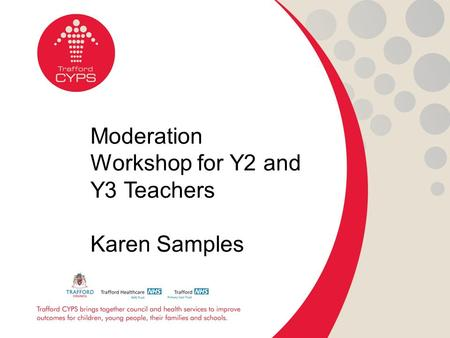 Moderation Workshop for Y2 and Y3 Teachers Karen Samples.