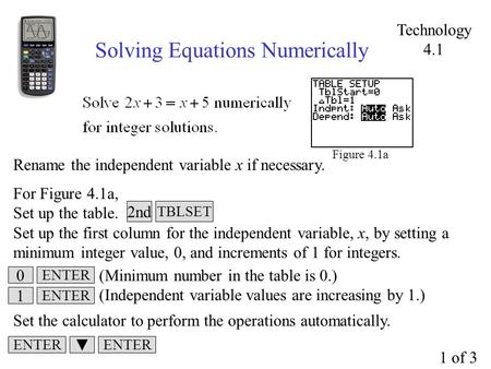 Solving Equations Numerically Figure 4.1a Rename the independent variable x if necessary. For Figure 4.1a, Set up the table. Set up the first column for.