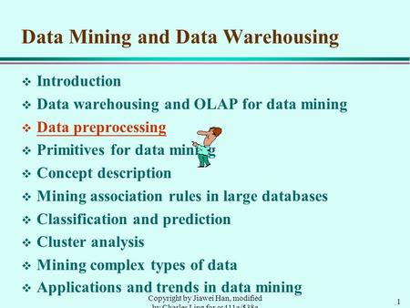 1 Copyright by Jiawei Han, modified by Charles Ling for cs411a/538a Data Mining and Data Warehousing v Introduction v Data warehousing and OLAP for data.